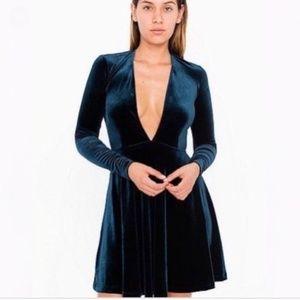 American Apparel Deep V Velvet Skater Dress